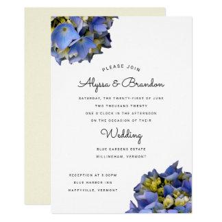 Amarelo moderno azul do convite do casamento do
