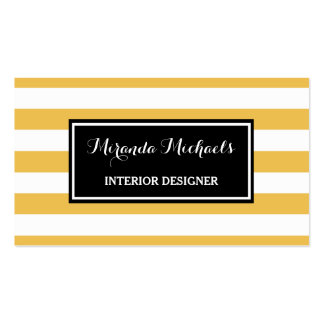 Amarelo na moda e o branco listram o designer de cartão de visita