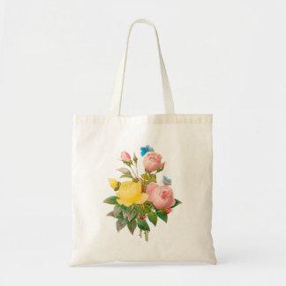 Amarelo/rosa/rosas do vintage de sacola tote budget