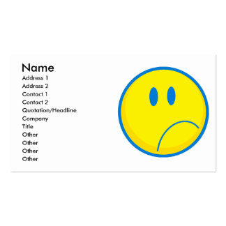 amarelo triste parvo e azul do smiley da cara cartão de visita
