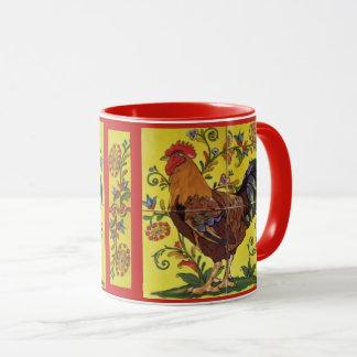 Amarelo vermelho da caneca da arte popular da