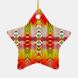 Amarelo vermelho psicadélico ornamento de cerâmica