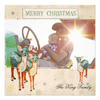 Ambarino Azure Fawns cartões de foto de Natal Convites Personalizado