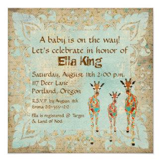 Amber & Azure Giraffes Baby Invitation