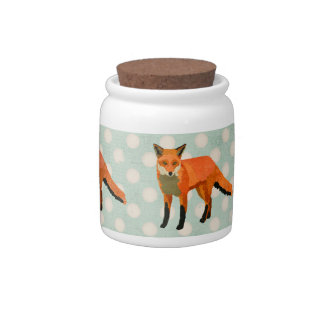 Amber Foxes Polkadot Cookie Jar Candy Dishes