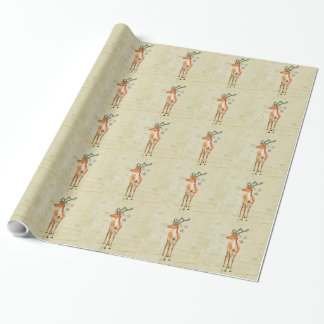 Amber Reindeer Wrapping Paper