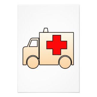 Ambulância dos desenhos animados convites personalizados