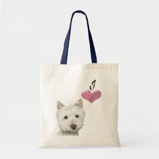 Ame a arte bonito do cão de Westie com coração 3D Sacola Tote Budget