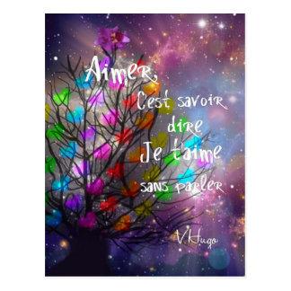 Ame a mensagem na abundância da árvore dos cartão postal