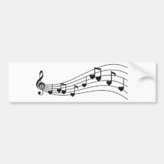 ame a música, notas musicais vermelhas com coraçõe adesivo para carro