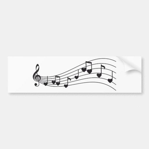 ame a música, notas musicais vermelhas com coraçõe adesivo