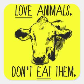 Ame animais, não os coma etiqueta do Vegan