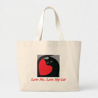 Ame-me, ame-o meu gato bolsas para compras