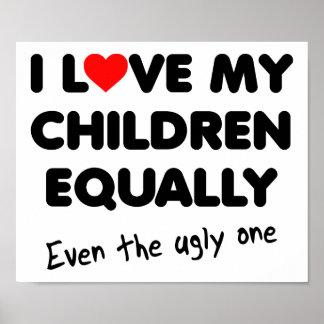 Ame meu poster engraçado das crianças pôster