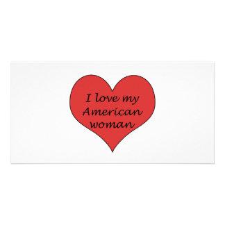 Ame minha mulher americana cartão com fotos