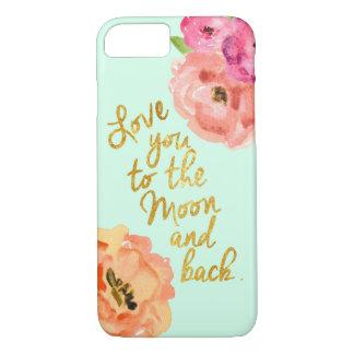 Ame-o à capa de telefone floral da lua e da parte