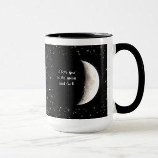 Ame-o à lua e à caneca traseira