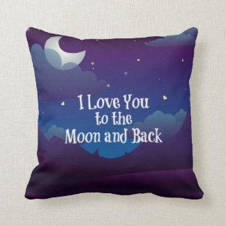 Ame-o à lua e à parte traseira, índigo azul almofada