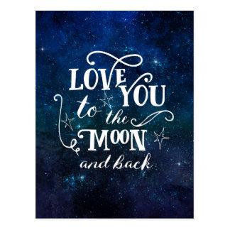 Ame-o à lua e ao cartão traseiro das estrelas