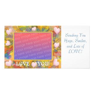 Ame-o abstrato corações do pastel cartoes com fotos personalizados