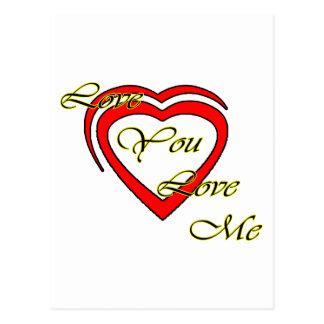 Ame-o amam-me vermelho amarelo dos corações o cartoes postais