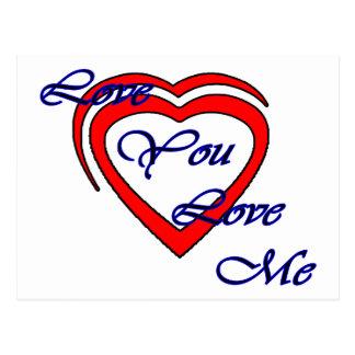 Ame-o amam-me vermelho azul dos corações o MUSEU Cartoes Postais