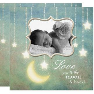 Ame-o ao bebê das estrelas Sparkling da lua & da Convite Quadrado 13.35 X 13.35cm