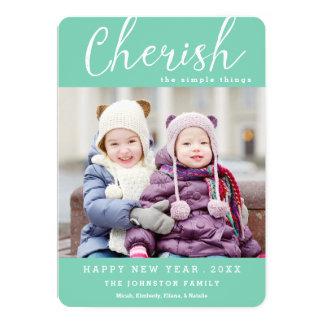 Ame o cartão com fotos do ano novo/cor feita sob convite personalizado