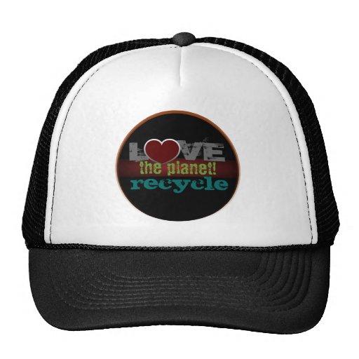 Ame o chapéu do reciclar do planeta bonés