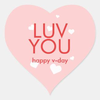 Ame-o coração cor-de-rosa vermelho do dia dos adesivo coração