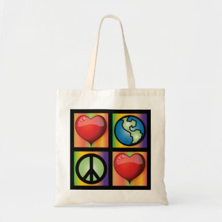 Ame o planeta, paz do amor sacola tote budget
