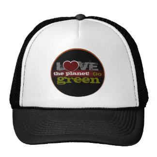 Ame o planeta vão chapéu verde boné