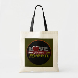 Ame o planeta vão saco verde bolsa tote