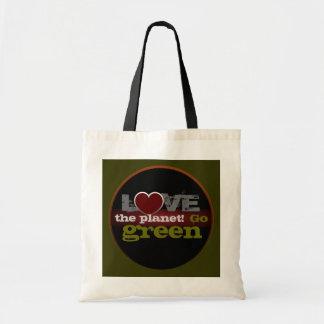 Ame o planeta vão saco verde sacola tote budget