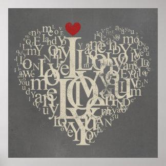 Ame o poster cinzento e vermelho do coração do pôster