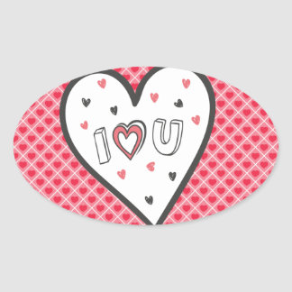 Ame-o tanto doce bonito do coração cor-de-rosa adesivo oval