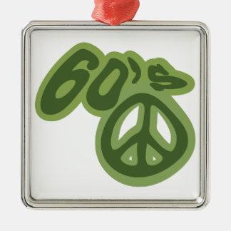 Ame os anos 60! ornamento quadrado cor prata