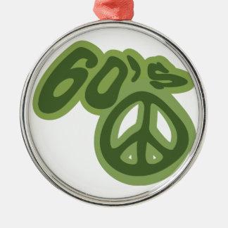 Ame os anos 60! ornamento redondo cor prata