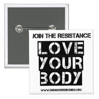 """Ame seu corpo 2"""" botão quadrado bóton quadrado 5.08cm"""