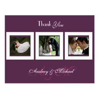 Ameixa/casamento/obrigado você cartão cartão postal