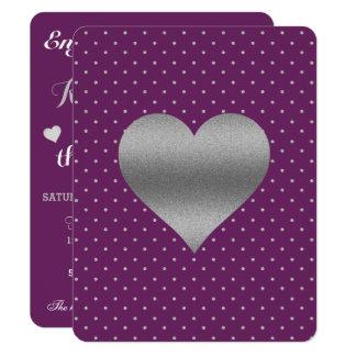 Ameixa e de coração & de bolinhas da prata convite