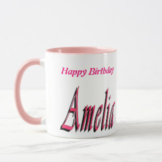 Amelia, caneca de café do rosa do logotipo do