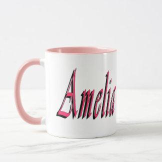 Amelia, nome, logotipo, caneca de café combinado