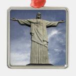 Ámérica do Sul, Brasil, Rio de Janeiro. Cristo Ornamento Quadrado Cor Prata