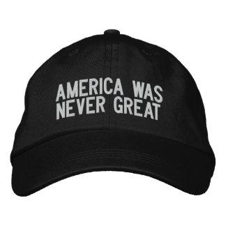 América era nunca grande - preto boné bordado