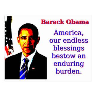 América nossas bênçãos infinitas - Barack Obama Cartão Postal