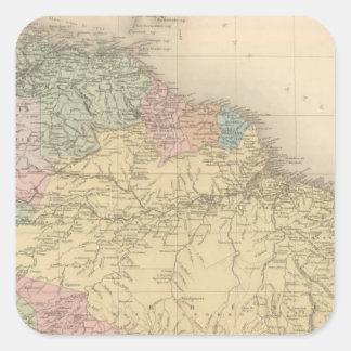 América sul e do norte adesivos quadrados