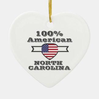 Americano de 100%, North Carolina Ornamento De Cerâmica Coração