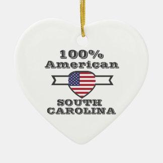 Americano de 100%, South Carolina Ornamento De Cerâmica Coração