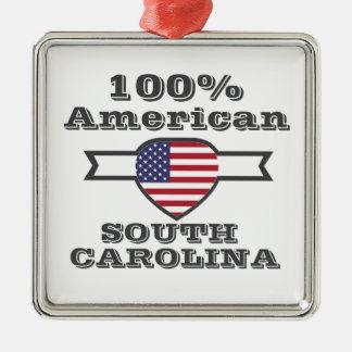 Americano de 100%, South Carolina Ornamento Quadrado Cor Prata